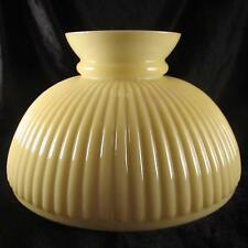 "10"" Cased Glass Shade Nu-Tone Gold Ribbed oil kerosene lamp student yellow"
