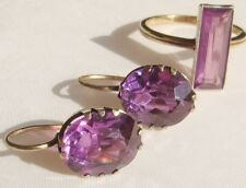 VINTAGE GOLD GILT STERLING SILVER EARRINGS RING SET with AMETHYST 7,4 gr