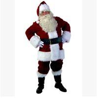 10Pcs Christmas Deluxe Plush Crimson Santa Claus Suit Costume Set Size S-XXL A11