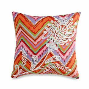 "DENA Home NOSTALGIA ""KALANI"" SQUARE TOSS DECORATIVE PILLOW Embroidered NEW"