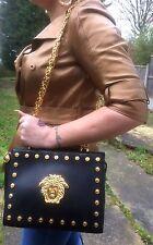 Vintage Gianni Versace Large Medusa Studs Leather Tote shoulder Bag  w/Dust Bag