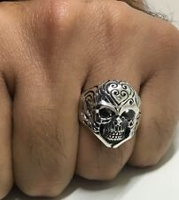 925 Stamped Sterling Silver Mens Vampire Gothic Skull Ring Biker Punk Onyx