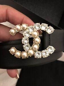 CHANEL - crystal & pearl cc belt Fits 10/12