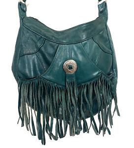 Vintage Southwest Purse Leather Fringe Teal Blue Crossbody Boho Festival