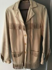 Vintage Leather Fringed Coat Native American Worn VERY DIRTY women's 36