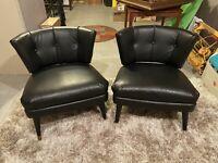 Vintage Mid Century Modern Black Tufted Kroehler Lounge Chair