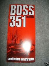 1971 FORD MUSTANG BOSS 351 OWNERS MANUAL SUPPLEMENT
