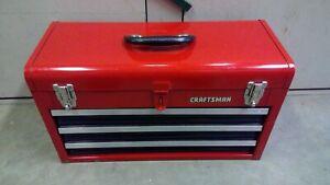 Craftsman Red 3-Drawer Steel Portable Lockable Tool Box