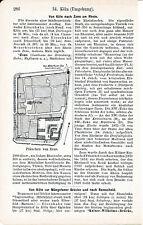 Zons 1908 kl. orig. Stadtplan im Text + Reisef. (1 S.) Schloss Feldtor Judenturm