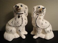 """Vtg 2 Staffordshire White Porcelain 8"""" Spaniel Dogs Gold Accents Display Objects"""