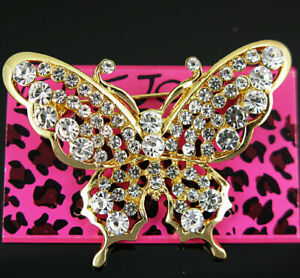 Hot white Crystal Vintage Butterfly Betsey Johnson Charm Brooch Pin Gift