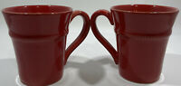 Set Of 2 Red Portugal Mugs Hand Crafted Rustic Pottery