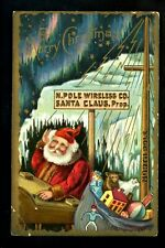Christmas Santa greetings postcard North Pole Wireless Co. toys bear doll gold