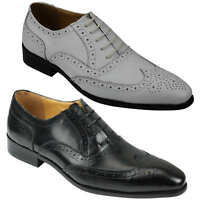 Mens Classic Genuine Real Leather Brogue Retro Smart Formal Lace up Shoes