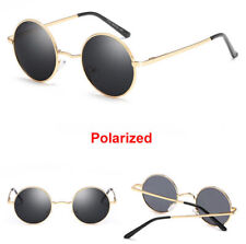 John Lennon Retro 90s Style Polarised Gold frame Black lens Sunglasses