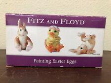 Fitz & Floyd Painting Easter Eggs Bunny Chick Tumblers Figurine Set Of 3 Nib
