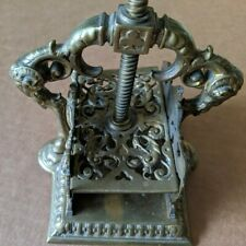 Antique Decorative Victorian Brass Playing Card Press Angels Rams Clubs Hearts