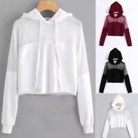 UK Womens Crop Tops Pullover Hooded Blouse Ladies Long Sleeve Sweatshirt Hoodies