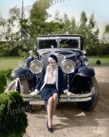 8x10 Print Anita Page posing with Automobile 1931 Colorized Portrait #2332