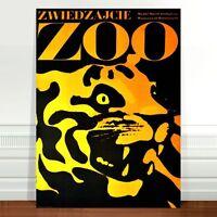 "Vintage Zoo Advertising Poster Art ~ CANVAS PRINT 32x24"" Tiger"