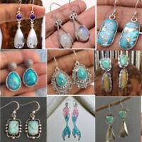 Fashion Retro 925 Silver Filled Ear Stud Dangle Hoop Earrings Women Jewelry Gift