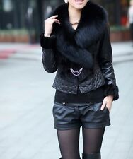 Real sheep leather+mink fur jacket coat with fox fur collar black free shipping