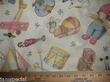 Toy Treasure Toss Baby Fabric BTY by yard 36x44 cotton quilt NURSERY doll sew