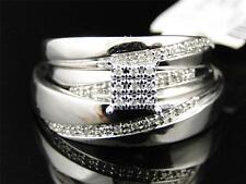 10K Mens Ladies White Gold Diamond Engagement Bridal Wedding Ring Trio Set .25Ct