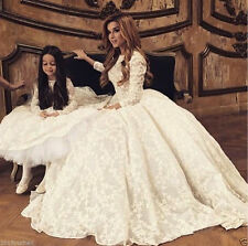 Ball Gown Modest Lace Wedding Dress 3/4 Sleeve High Neck White Ivory Bridal Gown
