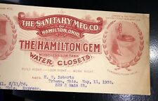 Sanitary Mfr Hamilton Gem Water Closet Letterhead Top Ohio 1908 Plumber