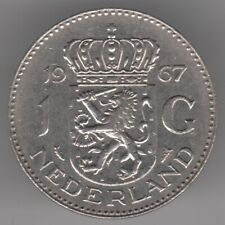 Netherlands 1 Gulden 1967 Nickel Coin - Queen Juliana - Crowned Lion Shield