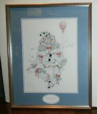 """Pierrot Finished Cross Stitch Matted & Framed 19"""" x 24"""" Clown Jester French"""