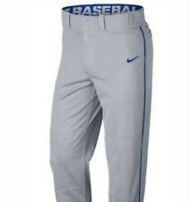Nike Boys Swoosh Piped Dri-Fit Gray Blue Baseball Pants Ah6942 - 062 Sz Small