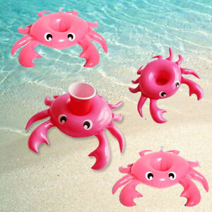 4Pcs Float Cup Holder Crab Pink Inflatable Coasters Rare For Swimming Pool