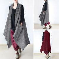 Mode Femme Cardigans Manteau Poches Loose Casuel en vrac Sans Manche Gilet Plus