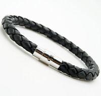 Unisex Men's Genuine Braided Leather Steel Magnetic Clasp Bracelet Jewelry Black