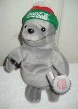#10039 RETIRED NWT 1998 Coca Cola Seal in Ski Cap Bean Bag Plush #0114