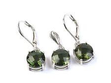 MOLDAVITE jewelry set pendant + earrrings checker top SILVER.925 4g - AGPEND1342