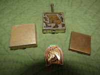 Mixed Lot of 3 Vintage Metal Pill Boxes and 1 Vintage Metal Pocket Ashtray