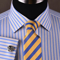 Yellow & Blue Designer Striped Business Dress Shirt French Cuff Luxury Formal GQ