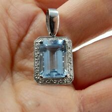Natural Blue Aquamarine Diamond Pendant 14K White Gold Heirloom Emerald Cut