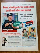 1954 Gleem Toothpaste Ad  Policeman & Twin Girls