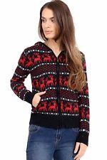 Ladies Girls Christmas Xmas Unisex Novelty 100% Wool Knitted Hooded Zip Sweater