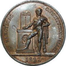 O5904 Rare Médaille Charles X Elections 1827 Leclerc Baron Desnoyers SUP