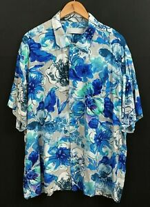 JAMS WORLD Men's Blue Sky Petal Print Short Sleeve Hawaiian Rayon Shirt sz XL