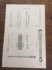 c19th c1870 Engraving Print Plate Barometers Barometer Scientific Instrument