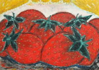 EXPRESSIONIST OIL PAINTING STILL LIFE STRAWBERRY