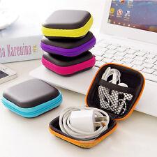Headphone Earphone Hard Case Plastic Travel Pouch Orange Blue Purple Pink Yellow