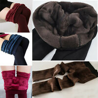 New Women's Solid Thick Winter Warm Fleece Lined Thermal Stretchy Leggings Pants
