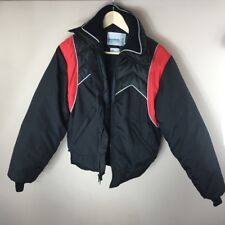 Vtg Mens Winter Coat Snowmobiling LAKEWOOD SPORTSWEAR Red Black Quilted 44 chest